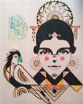 "Frida Pyrography 27.5"" x 19.5"""