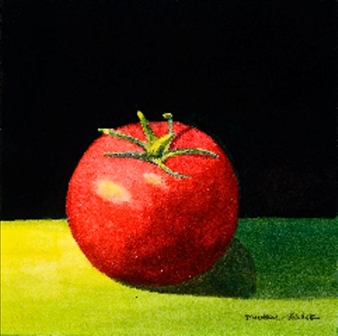 """Still Life with Tomato Watercolor on Paper 6"""" x 6"""""""