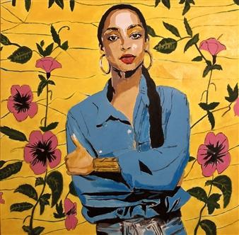 """Sade Adu Acrylic & Oil on Canvas 36"""" x 36"""""""