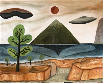 """Distant Planet and UFO Oil on Canvas 34"""" x 27.5"""""""