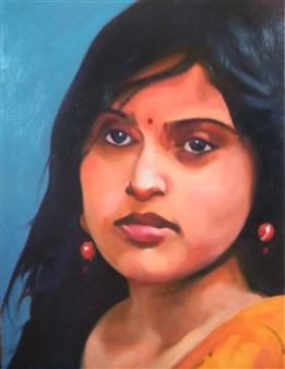 """A Life in Dhaka Oil on Canvas 16"""" x 12.5"""""""