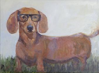 "Farsighted Weiner Oil on Canvas 18"" x 24"""