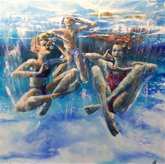 """The Tea Party Acrylic on Canvas 39.5"""" x 39.5"""""""