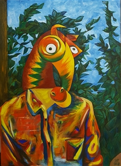 """Self-portrait Wearing a Horse Mask Oil on Canvas 29"""" x 21"""""""