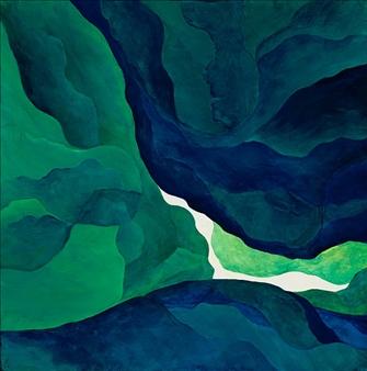 "Green Portal Acrylic on Canvas 20"" x 20"""