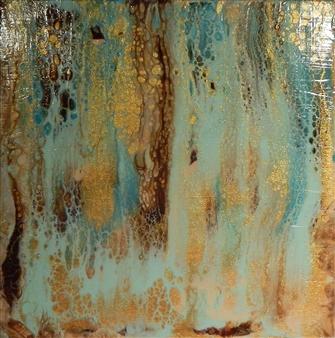 """Turquoise Canyon Acrylic on Wood 8"""" x 8"""""""