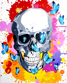 """Skull and Butterflies Acrylic on Canvas 39.5"""" x 31.5"""""""