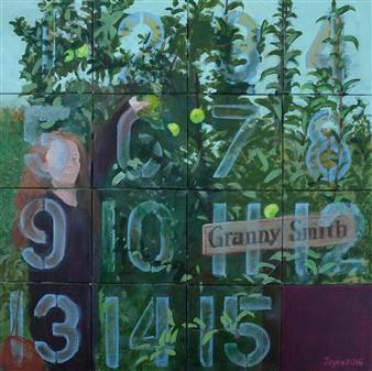 "Fifteen Puzzle: Granny Smith Acrylic on Canvas 16"" x 16"""