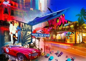 "Miami Paradise Club Mixed Media on Plexiglass 27.5"" x 31.5"""