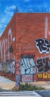 """Williamsburg Brooklyn, """"Overgrowth"""" Acrylic on Wood Panel 20"""" x 10"""""""