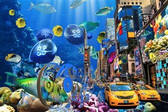 """Aqua City Mixed Media on Plexiglass 27.5"""" x 31.5"""""""