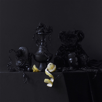 Still Life in Black with Lemon And Teddy / second variation