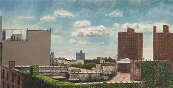 "Williamsburg Rooftops Acrylic on Canvas 12"" x 24"""