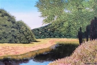 "Glass Lake Acrylic & Oil on Canvas 16"" x 20"""
