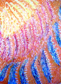 Flowing Yellow in Red and Blue