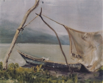 """Boat and Net Oil on Canvas 20"""" x 24"""""""