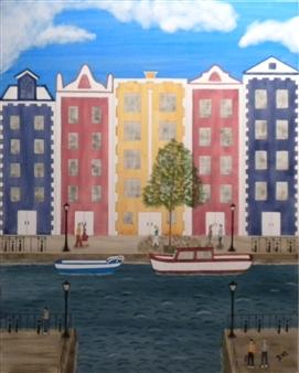 "Amsterdam Watercolor on Board 24.5"" x 20.5"""