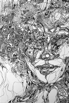 "Face Ⅰ Pen on Paper 11.5"" x 7.5"""