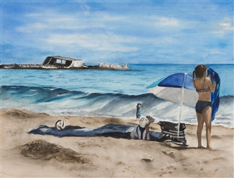 Girl with Dogs on the Beach