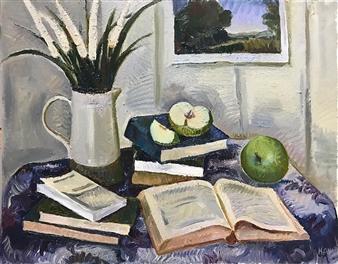 "Still Life with Artprint Oil on Canvas 22"" x 28"""