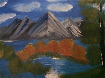 """Mountain lake Oil on Canvas 18"""" x 24"""""""