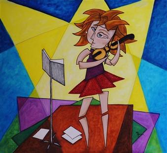 """La Violinista Oil on Canvas 35.5"""" x 39.5"""""""