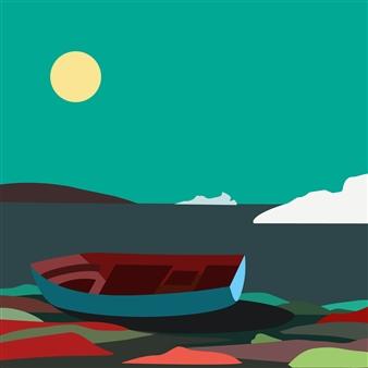 "Boat Wreckage Near Battle Harbour, Labrador Digital Print on Paper 18"" x 18"""