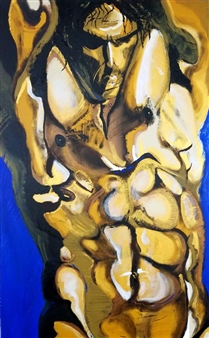 Gold Torso on Blue