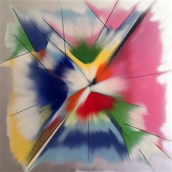 """Explosion de Couleurs Spraypaint & Felt Tip Marker on Canvas 31.5"""" x 31.5"""""""