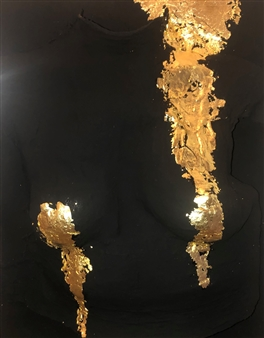 """Armor in Dreams Acrylic, Plaster and 22K Gold Leaves on Canvas 15.7"""" x 11.8"""""""