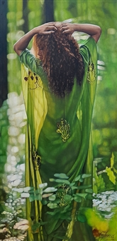 A Girl on Green Silk Scarf