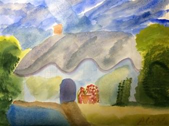 "Sunlit cottage Watercolor on Paper 18"" x 24"""