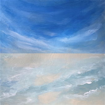 "Cirrus Wave  (Cirrus Wind) Acrylic on Wood Panel 12"" x 12"""