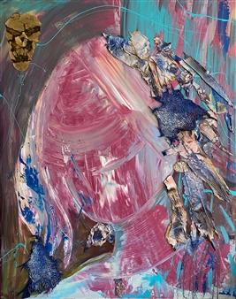 "Buffalo Calf Robe Mixed Media on Canvas 60"" x 48"""