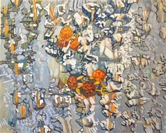 "Knar Raspberry Soil & Ceramic Paint Mixture on Canvas 28.5"" x 36"""