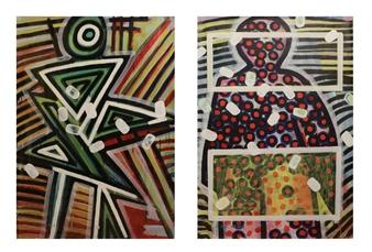 "Angel _07, 1987-2015 Dispersion & Gouache on Paper 39.5"" x 55"""