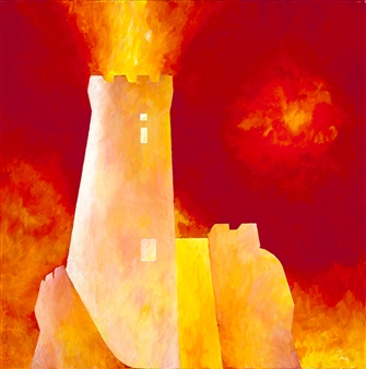 "Umbrian Tower Acrylic on Canvas 24"" x 24"""