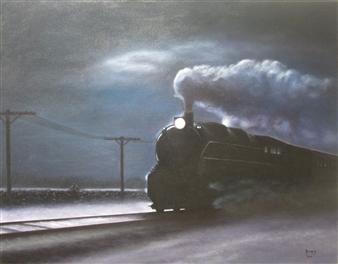 """Expreso de Media Noche Oil on Canvas 27.5"""" x 35.5"""""""