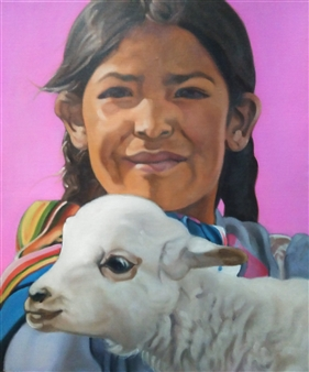 A Girl Holding a Baby Alpaca