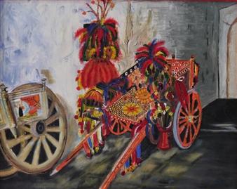 """El Carrito Siciliano Acrylic on Canvas 15.5"""" x 19.5"""""""