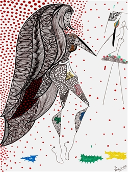 """La Moza Artista Black Fine Point Pen & Colored Markers on Paper 17"""" x 11"""""""