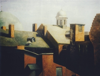 """Dome and Cupola  (Baltimore, Maryland) Oil on Masonite 20"""" x 24"""""""