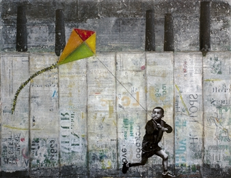 """Kid with Kite Acrylic & Collage on Paper 19"""" x 25"""""""