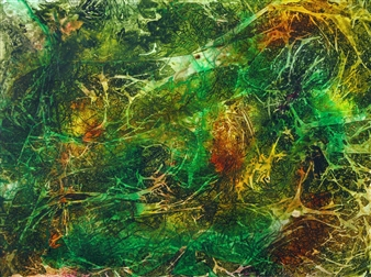 """Secrets of the Rainforest Ink on Board 32"""" x 24"""""""