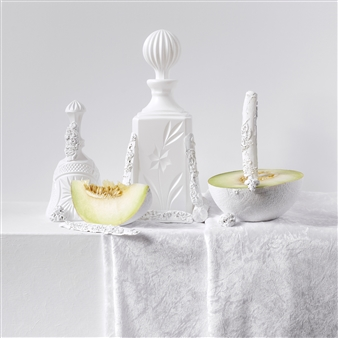 """Still Life in White with Melons / second variation Archival Pigment Print 20"""" x 20"""""""