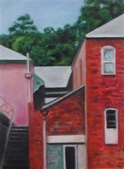 """The Back Stairs Oil on Linen 22"""" x 16"""""""