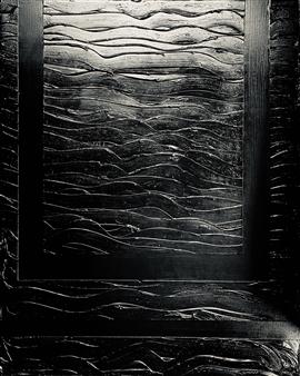 "Black Wave Gesso, Acrylic & Spray Paint on Canvas 39.5"" x 31.5"""