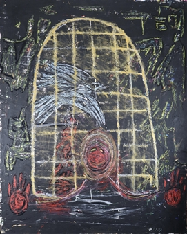 """A Cage Is Still A Cage Mixed Media on Canvas 39.5"""" x 31.5"""""""
