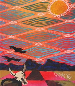 """Desert Heat Acrylic & Oil Pastel on Canvas 11.5"""" x 9.5"""""""