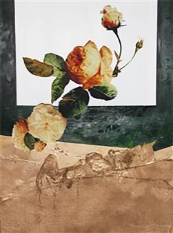 "Orange Peony Mixed Media on Canvas 48"" x 36"""